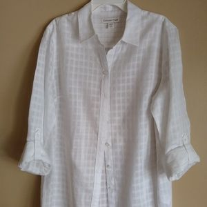Women's Coldwater Creek white semi sheer shirtNWOT